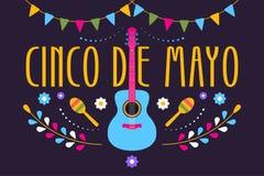 Εορταστικό σχέδιο Cinco de Mayo για τις μεξικάνικες διακοπές Ζωηρόχρωμο έμβλημα της 5ης Μαΐου στο Μεξικό με την κιθάρα, τα λουλού ελεύθερη απεικόνιση δικαιώματος