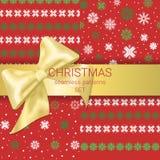 Εορταστικό σύνολο άνευ ραφής διακοσμημένης σχέδια χρυσής κορδέλλας Χριστουγέννων με το τόξο απεικόνιση αποθεμάτων