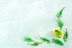 Εορταστικό σύντομο χρονογράφημα Πάσχας το κίτρινο αυγό Πάσχας που διακοσμείται με με το Φε Στοκ εικόνες με δικαίωμα ελεύθερης χρήσης