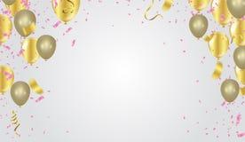 Εορταστικό υπόβαθρο με τα χρυσά και ασημένια μπαλόνια ελεύθερη απεικόνιση δικαιώματος