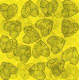 Εορταστικό φωτεινό κίτρινο υπόβαθρο διακοσμήσεων καρδιών Στοκ φωτογραφία με δικαίωμα ελεύθερης χρήσης