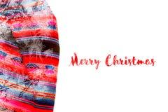 Εορταστικό χειμερινό υπόβαθρο διακοπών Χριστουγέννων με το φωτεινό πολύχρωμο τραπεζομάντιλο στοκ φωτογραφία