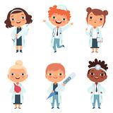 Επάγγελμα γιατρών Τα παιδιά σε διαφορετικό θέτουν διανυσματική απεικόνιση
