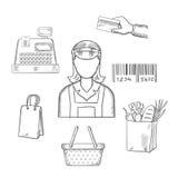 Επάγγελμα πωλητών και αγορές σκιαγραφημένα εικονίδια απεικόνιση αποθεμάτων