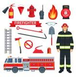 Επάγγελμα των διανυσματικών εργαλείων πυροσβεστών ή πυροσβεστών ελεύθερη απεικόνιση δικαιώματος