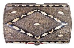 Επάνω από την άποψη της παραδοσιακής αρχαίας αραβικής κασετίνας στοκ φωτογραφίες