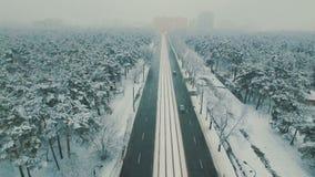 Επάνω από τη τοπ άποψη σχετικά με το χειμερινό δασικό δρόμο με τα αυτοκίνητα και το τραμ Εναέριο μήκος σε πόδηα κηφήνων χιονοπτώσ φιλμ μικρού μήκους