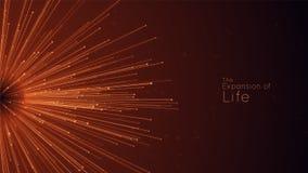 Επέκταση της ζωής Διανυσματικό υπόβαθρο έκρηξης σφαιρών Τα μικρά μόρια προσπαθούν από το κέντρο Θολωμένος debrises στις ακτίνες διανυσματική απεικόνιση