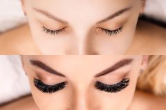 Επέκταση Eyelash Σύγκριση των θηλυκών ματιών πριν και μετά Hollywood, ρωσικός όγκος στοκ εικόνες