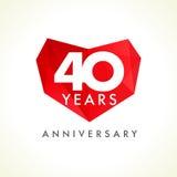 Επέτειος 40 χρονών καρδιές που γιορτάζουν το διανυσματικό λογότυπο Στοκ Εικόνες