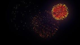 34 Επίδειξη πυροτεχνημάτων στο μαγικό υπόβαθρο ουρανού φιλμ μικρού μήκους