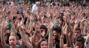 Επίδειξη σπουδαστών της Βαρκελώνης ευρέως στοκ εικόνες με δικαίωμα ελεύθερης χρήσης