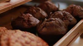 Επίδειξη των πρόσφατα ψημένων μπισκότων τσιπ Choc στη καφετερία απόθεμα βίντεο