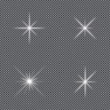 Επίδραση φω'των πυράκτωσης Σύνολο αστεριών σπινθηρισμάτων, λάμψης πυράκτωσης, φωτεινής έκρηξης και φλόγας διάνυσμα απεικόνιση αποθεμάτων