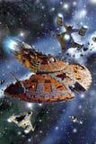 Επίθεση ταχύπλοων σκαφών μάχης διαστημοπλοίων διανυσματική απεικόνιση