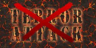 Επίθεση τρόμου λέξεων που γράφεται και που διασχίζεται από το κόκκινο χρώμα στην κόκκινη λάβα κινδύνου Στοκ Φωτογραφίες