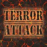 Επίθεση τρόμου λέξης που γράφεται στην κόκκινη λάβα κινδύνου Στοκ Εικόνα