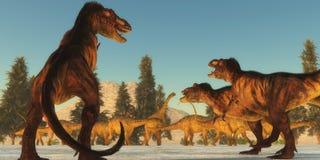 Επίθεση τυραννοσαύρων Στοκ φωτογραφία με δικαίωμα ελεύθερης χρήσης