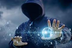 Επίθεση χάκερ στο σφαιρικό δίκτυο Ίντερνετ Στοκ Φωτογραφία