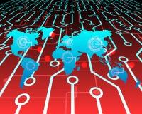 Επίθεση Cyber παγκόσμιων χαρτών από το υπόβαθρο έννοιας κρίσης χάκερ Vect Στοκ Εικόνες