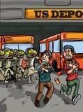 Επίθεση Zombie στην αποθήκη λεωφορείων Στοκ Φωτογραφίες