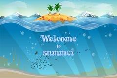 Επίκαιρο νησί θερέτρου 1 πρόσκληση καρτών Υποβρύχια επιφάνεια βυθού και νερού κοραλλιογενών υφάλων με την τροπική εικόνα αποθεμάτ Στοκ Εικόνα