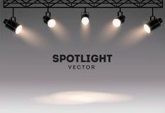 Επίκεντρα με το φωτεινό άσπρο ελαφρύ να λάμψει σκηνικό διανυσματικό σύνολο Φωτισμένος προβολέας μορφής επίδρασης, απεικόνιση διανυσματική απεικόνιση