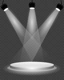 Επίκεντρα στη σκηνή, την εξέδρα και το φωτεινό ελαφρύ φωτισμό στο διαφανές υπόβαθρο, πρότυπο σχεδίου, διανυσματική απεικόνιση Στοκ Φωτογραφίες