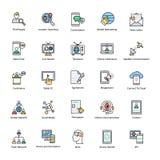 Επίπεδα διανυσματικά εικονίδια δικτύωσης καθορισμένα Στοκ φωτογραφία με δικαίωμα ελεύθερης χρήσης