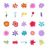 Επίπεδα διανυσματικά εικονίδια λουλουδιών Απεικόνιση αποθεμάτων