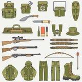 Επίπεδα διανυσματικά κυνήγι χρώματος γραμμών και σύνολο εικονιδίων εξοπλισμού στρατοπέδευσης Εξοπλισμός κυνηγών, εξοπλισμός Αναδρ απεικόνιση αποθεμάτων
