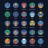 Επίπεδα διανύσματα Superheroes και κακοποιών καθορισμένα διανυσματική απεικόνιση