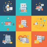 Επίπεδα εικονίδια έννοιας σχεδίου για την επιχείρηση, τον Ιστό και τις κινητές υπηρεσίες χρήματα εννοιών επιχειρησιακών υπολογιστ Στοκ Εικόνες