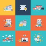 Επίπεδα εικονίδια έννοιας σχεδίου για την επιχείρηση, τον Ιστό και τις κινητές υπηρεσίες χρήματα εννοιών επιχειρησιακών υπολογιστ Στοκ Φωτογραφίες