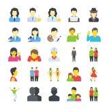 Επίπεδα εικονίδια ανθρώπων καθορισμένα διανυσματική απεικόνιση