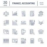 Επίπεδα εικονίδια γραμμών οικονομικής λογιστικής Φορολογική βελτιστοποίηση λογιστικής, σταθερή διάλυση, μεταφορά λογιστών, μισθοδ απεικόνιση αποθεμάτων
