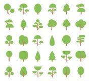 Επίπεδα εικονίδια δέντρων Στοκ εικόνα με δικαίωμα ελεύθερης χρήσης