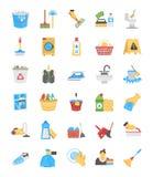 Επίπεδα εικονίδια καθαρισμού και κοριτσιών απεικόνιση αποθεμάτων