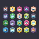Επίπεδα εικονίδια κτηρίων καθορισμένα Στοκ εικόνα με δικαίωμα ελεύθερης χρήσης