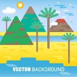 Επίπεδα εικονίδια ύφους του άγριου τοπίου με το ηφαίστειο Υπόβαθρο προτύπων ελεύθερη απεικόνιση δικαιώματος