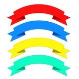 Επίπεδα εμβλήματα κορδελλών Κορδέλλες στο επίπεδο σχέδιο Διανυσματικό σύνολο colo διανυσματική απεικόνιση