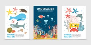 Επίπεδα ζωηρόχρωμα υποβρύχια φυλλάδια ζωής διανυσματική απεικόνιση