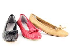Επίπεδα παπούτσια μπαλέτου γυναικών Στοκ Εικόνες