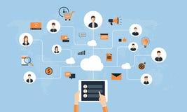Επίπεδες έννοια και επιχείρηση επιχειρησιακής σε απευθείας σύνδεση σύνδεσης στο κοινωνικό δίκτυο ελεύθερη απεικόνιση δικαιώματος
