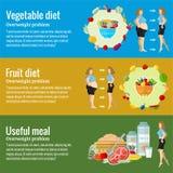 Επίπεδες έννοιες σχεδίου για τη defferent διατροφή και την υγειονομική περίθαλψη, φυτική διατροφή, διατροφή frui, χρήσιμο γεύμα Έ απεικόνιση αποθεμάτων