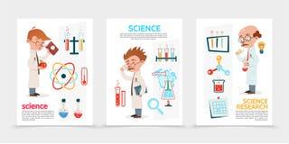 Επίπεδες αφίσες επιστημονικής έρευνας ελεύθερη απεικόνιση δικαιώματος