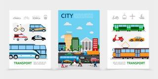 Επίπεδες αφίσες μεταφορών πόλεων διανυσματική απεικόνιση