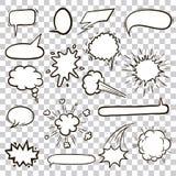 Επίπεδες μαύρες λεκτικές φυσαλίδες συρμένα εικονίδια χεριών Στοκ Εικόνα
