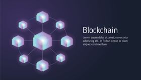 Επίπεδη έννοια σχεδίου blockchain και τεχνολογία cryptocurrency Σύνθεση για το έμβλημα ιστοχώρου σχεδίου σχεδιαγράμματος Απεικόνιση αποθεμάτων