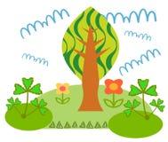 Επίπεδη απεικόνιση Δάσος παραμυθιού το καλοκαίρι Ελεύθερη απεικόνιση δικαιώματος